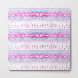 Bohemian Pink and Blue Abstract Tie Dye Pattern Metal Print