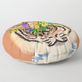 Tiger with Floral Crown Art Print, Funny Decoration Gift, Cute Room Decor Floor Pillow