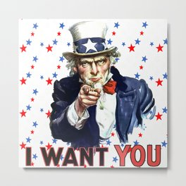 Uncle Sam I Want You With Star Pattern Background Metal Print