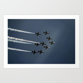 The Red Arrows flying in formation Art Print