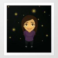fireflies Art Prints featuring Fireflies by Sara Showalter