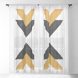 Forward marble yellow arrows Sheer Curtain