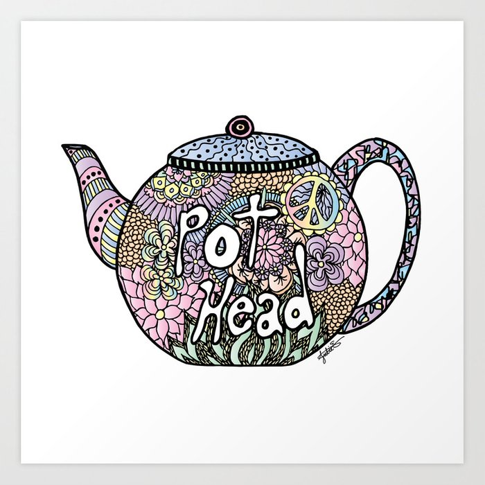 Tea Pot Head Art Print