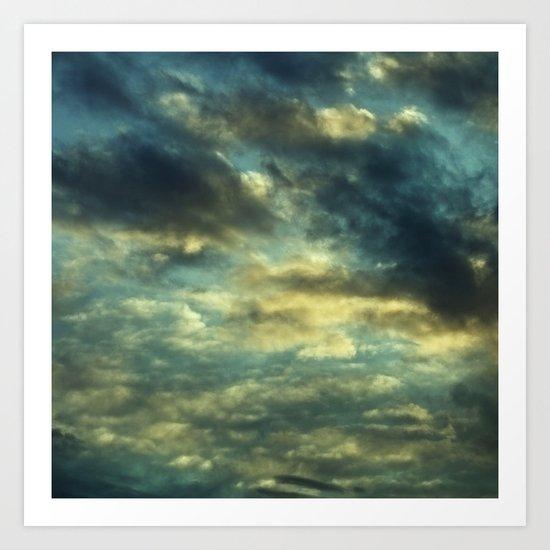 Cloudy Gray Blue Sky Vintage Art Print