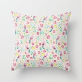 Watercolor Birds and Spring Flowers Throw Pillow