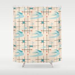 Mid Century Modern Boomerangs, blues on cream Shower Curtain