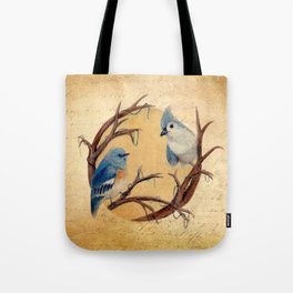 Vintage Bird Print Tote Bag