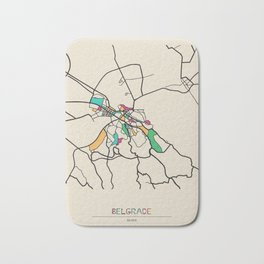 Colorful City Maps: Belgrade, Serbia Bath Mat