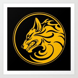 Yellow and Black Growling Wolf Disc Art Print