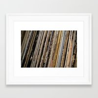 records Framed Art Prints featuring Records  by Sugar & Brownie