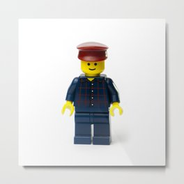 Minifig in a checked shirt and red hat Metal Print