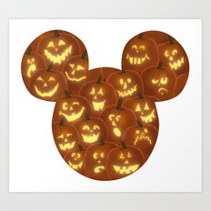 Jack O' Lantern Mouse Ears Art Print