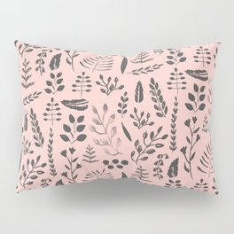 Pink and black leaves Pillow Sham