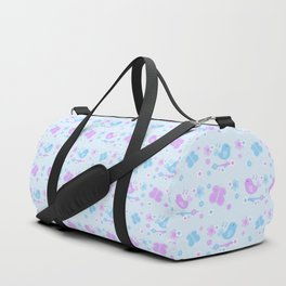 Chickadee Bird Butterfly Floral Purple Lavender Blue Duffle Bag