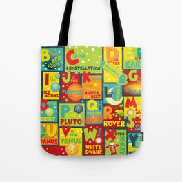 Space Alphabet Tote Bag