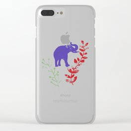 Watercolor Flowers & Elephants Clear iPhone Case