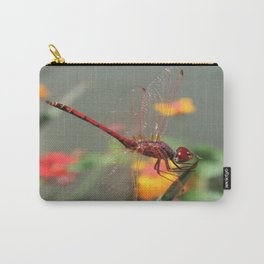 Red Skimmer or Firecracker Dragonfly With Lantana Background Carry-All Pouch