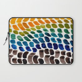 Colorful Rainbow Watercolor Organic Patterns Natural Shapes Playful Art Mid Century Modern Tribal Ar Laptop Sleeve