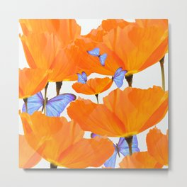 Poppies And Butterflies White Background #decor #society6 #buyart Metal Print