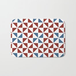 Pinwheel Quilt Pattern in Red and Blue Bath Mat