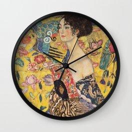 WOMAN WITH FAN - GUSTAV KLIMT Wall Clock