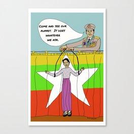 Myanmar Puppet Aung San Suu Kyi Burma Canvas Print