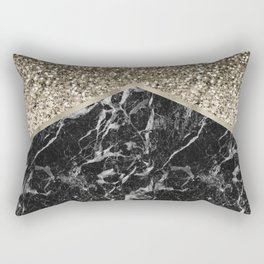 Shimmering golden chevron black marble Rectangular Pillow