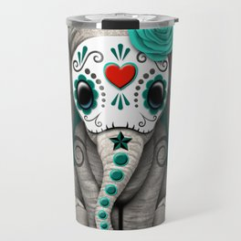 Teal Blue Day of the Dead Sugar Skull Baby Elephant Travel Mug