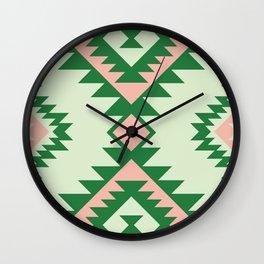 Navajo motif with watermelon pallet Wall Clock