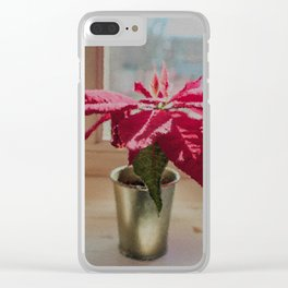 Painted Poinsettia Clear iPhone Case