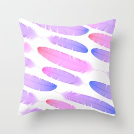 Colorful seamless feather vector pattern Throw Pillow