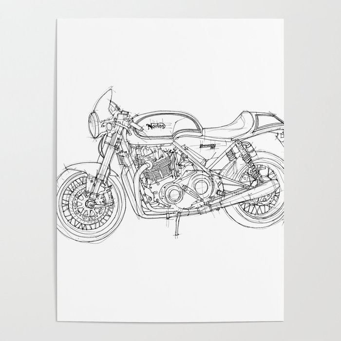 NORTON COMMANDO 961 CAFE RACER 2011, original artwork Poster