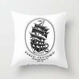 Fheen Ship Tea Cup  Throw Pillow