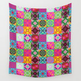 Bohemian Jungle Quilt Tiles Wall Tapestry