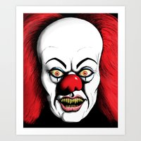 pennywise Art Prints featuring Pennywise by darkscrybe
