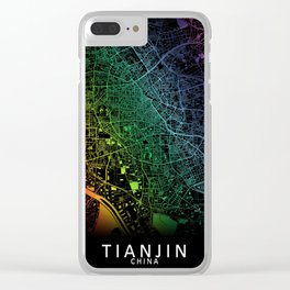 Tianjin, China, City, Map, Rainbow, Map, Art, Print Clear iPhone Case
