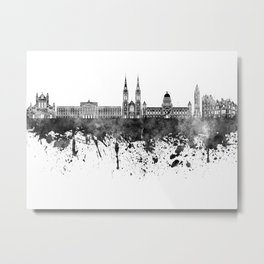 Belfast skyline in black watercolor on white background Metal Print
