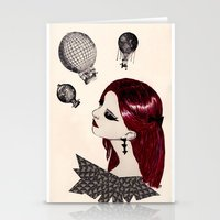 hot air balloons Stationery Cards featuring Hot Air Balloons by Melania B