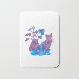 Cat And Flowers Bath Mat
