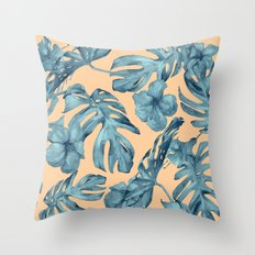 Island Life Hibiscus Palm Apricot Teal Blue Throw Pillow