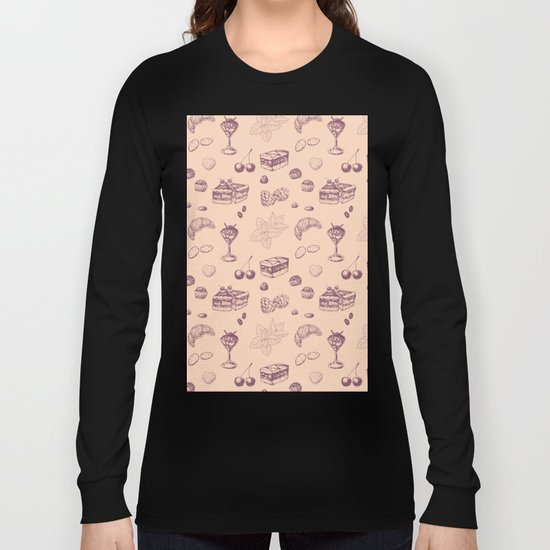 Sweet pattern with various desserts. Long Sleeve T-shirt