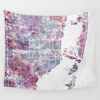 miami Wall Tapestries featuring Miami map by MapMapMaps.Watercolors