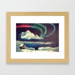 Aurora Borealis with Deer Framed Art Print