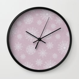 Assorted Snowflakes On Pink Background Wall Clock