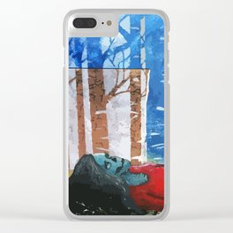 Skull Among Birches Clear iPhone Case