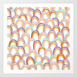 Pastel Rainbow Pattern - pink, aqua and blue Art Print
