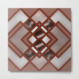 Rich Bronze Silver Geometrical Pattern Metal Print