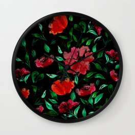 Roses on Black Background /// Red Green Black Palette Wall Clock