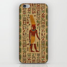 Egyptian Amun Ra - Amun Re Ornament on papyrus iPhone Skin