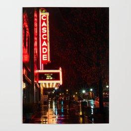 Rainy Night Reflections Cascade Theatre Redding California Poster